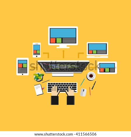 Remote access to connect devices. Distributed system. - stock vector