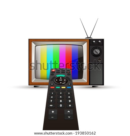 remote control and tv - stock vector