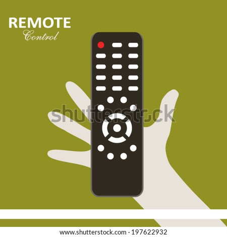Remote control flat design poster with hand holding control panel on green yellow background art - stock vector