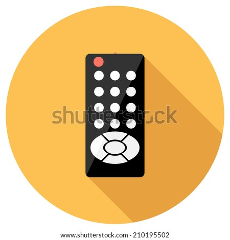 Remote control icon. Flat design style modern vector illustration. Isolated on stylish color background. Flat long shadow icon. Elements in flat design. - stock vector