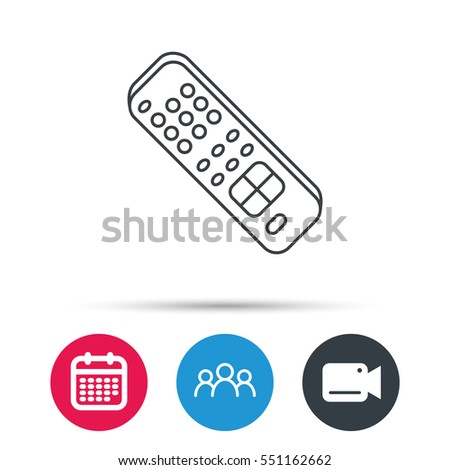 Remote control icon. TV switching channels sign. Group of people, video cam and calendar icons. Vector