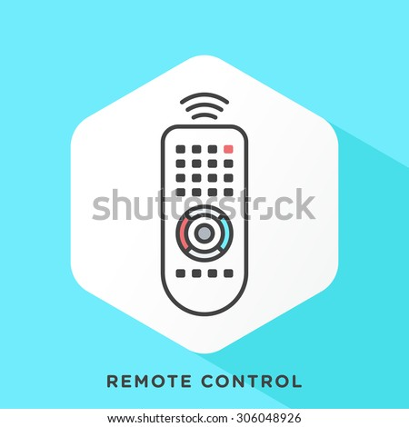Remote control icon with dark grey outline and offset flat colors. Modern style minimalistic vector illustration for remote control access in human and computer interaction. - stock vector