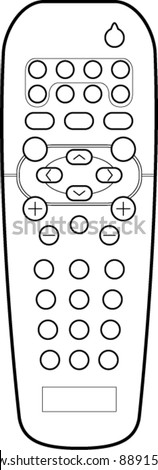 remote control line art - stock vector
