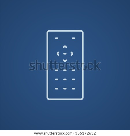 Remote control line icon for web, mobile and infographics. Vector light blue icon isolated on blue background. - stock vector