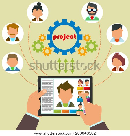 Remote control staff and project management. Remote business management concept with a businessman holding a tablet. vector. - stock vector