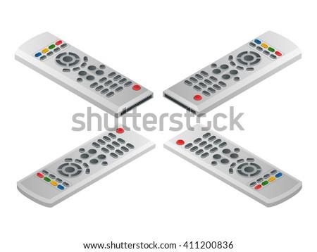 Remote control tv. Flat 3d vector isometric illustration - stock vector