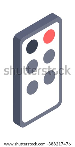 Remote controller illustration isometric icon. Flat design style modern remote controller . Remote controller isolated. Elements tv equipment isometric design. Digital remote controller. - stock vector