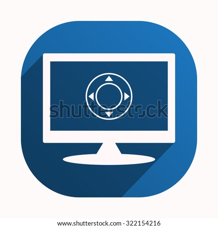 Remote controller's dial, knob, joystick template. icon. vector design, blue button for Mobile Applications - stock vector