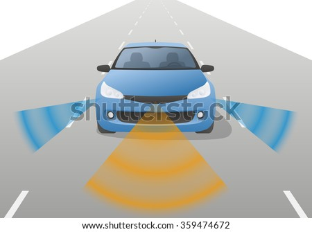 Remote Sensing System of Vehicle, front view. smart car, safety car, autonomous car, vector - stock vector