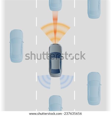 Remote Sensing System of Vehicle. smart car, safety car, autonomous car, vector - stock vector