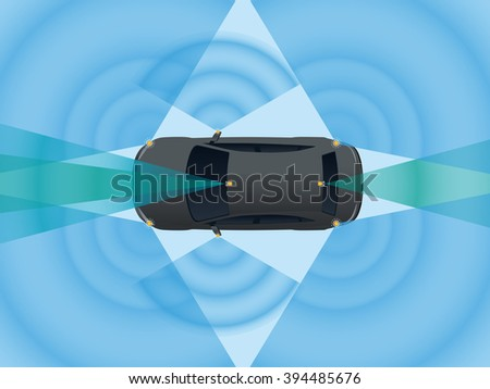 Remote Sensing System of Vehicle. various cameras and sensors, smart car, safety car, autonomous car, top view, vector illustration - stock vector