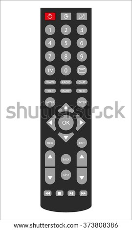 Remote TV Control. Isolated on white background, vector illustration - stock vector