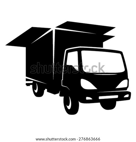Removal truck icon - black - stock vector