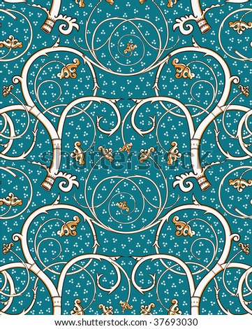 Renaissance floral seamless pattern - emerald, white vine style. Detailed vector, pattern swatch included! - stock vector
