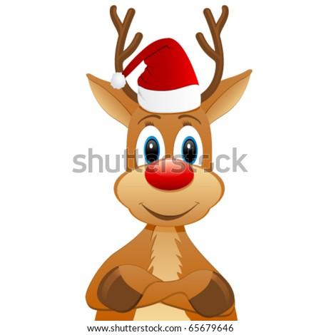 rendeer with Santa hat - stock vector