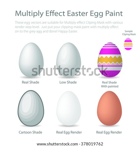 """Render eggs are ready for """"Multiply effect on clipping mask"""" paint graphic, Easter  - stock vector"""