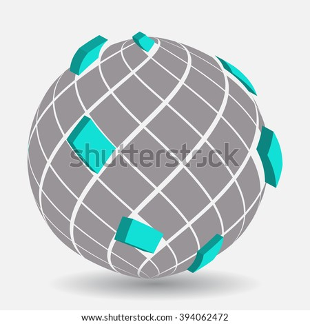 Rendering of an abstract gray and blue sphere.