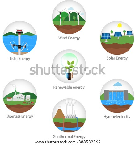 Renewable alternative solar, wind, hydro, bio fuel, geothermal, tidal  energy. Useful for layout, statistic, brochure template, infographics and presentations. Green energy  - stock vector