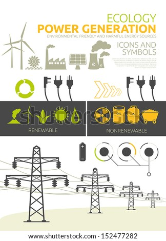 Renewable and nonrenewable power generation graphic set Vector concept designs - stock vector