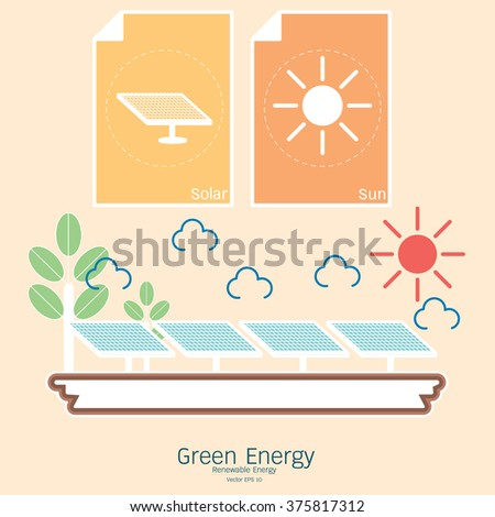 Renewable energy in the illustrated. Vector green energy. Connect to renewable energy - ecology background / eco energy concept with set of energy icons. - stock vector
