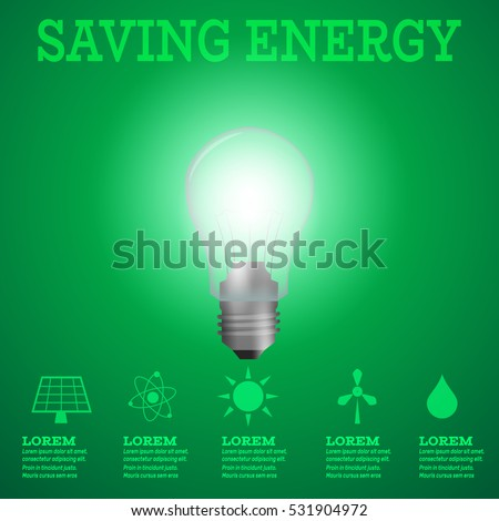 Renewable energy infographic.Luminous bulb on green Luminous background with Alternative energy resources logos-solar panel,fusion power,sun electricity,wind turbine,hydro energy.Saving energy concept