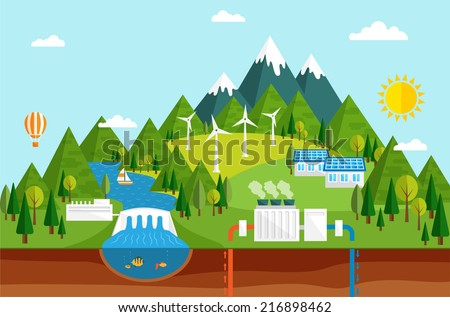 Renewable energy like hydro, solar, geothermal and wind power generation facilities - stock vector