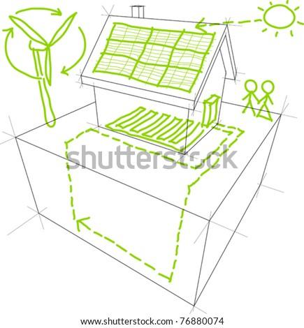 Renewable energy sketches - stock vector