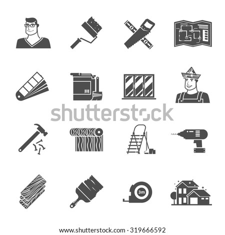 Renovation black icons set with hammer drill and worker avatar isolated vector illustration - stock vector