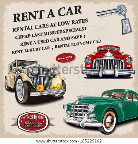 Rent a car retro poster. - stock vector