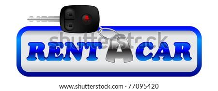 rent a car tag with car key - stock vector