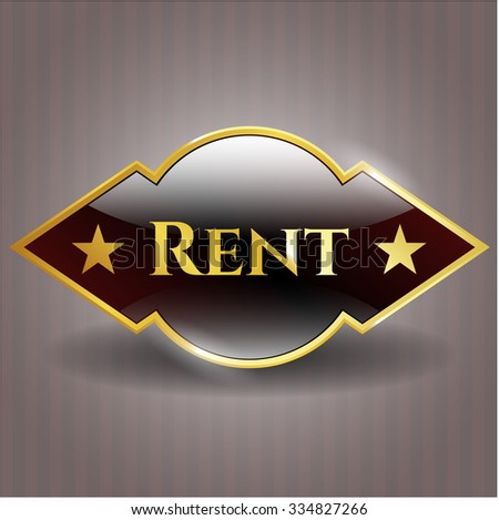 Rent golden emblem or badge - stock vector