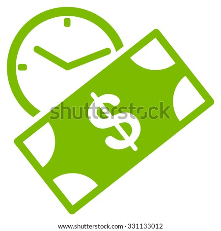 Rent Recurring Payment vector icon. Style is flat eco green symbol, rounded angles, white background. - stock vector