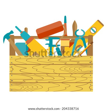 Repair and construction illustration with working tools icons - stock vector