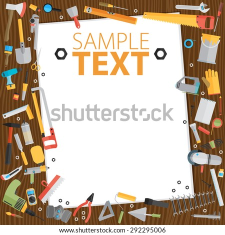 Repair and construction illustration with working tools. Place for text. - stock vector