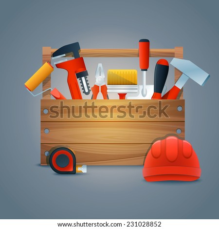 Repair and construction toolbox kit with work equipment and tools vector illustration - stock vector