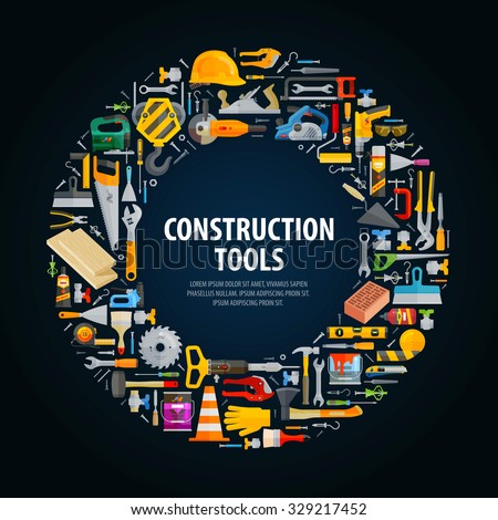 repair and construction vector logo design template. tools or building icons - stock vector