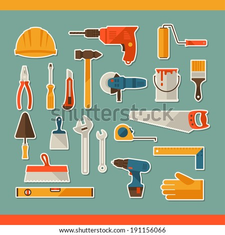 Repair and construction working tools sticker icon set. - stock vector