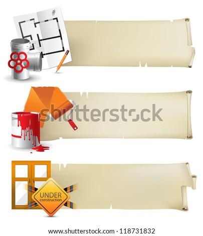 repair banners - stock vector