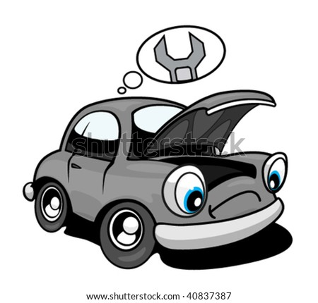 Repair cartoon car - stock vector