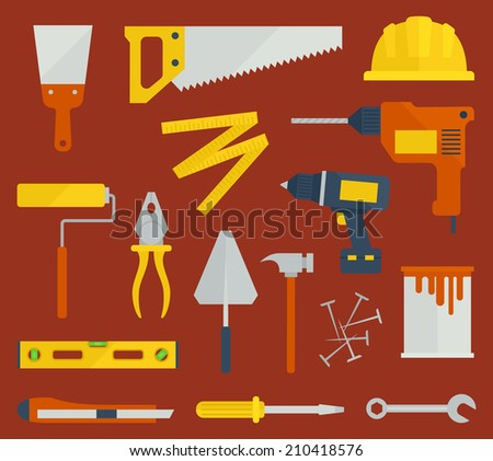 Repair / Construction / Renovation flat icons with tools - stock vector