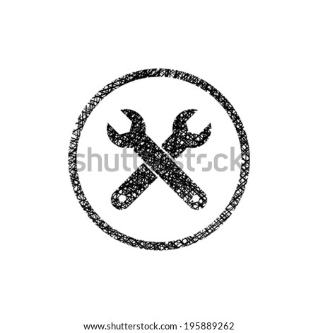 Repair icon with two wrenches, vector symbol with hand drawn lines texture. - stock vector