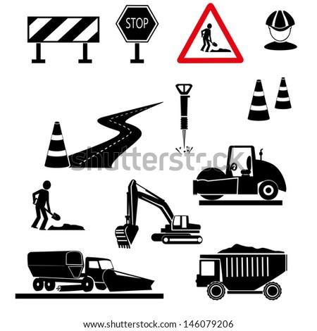 repair of roads. under construction signs - vector - stock vector