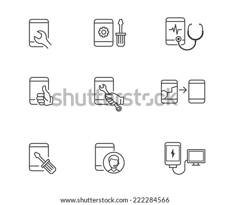 Repair, service and maintenance icons for mobile or smart phone - stock vector