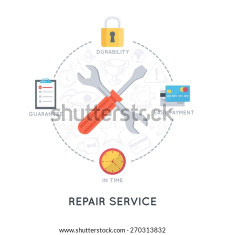 Repair service and support. Modern flat design template. Infographic background. - stock vector