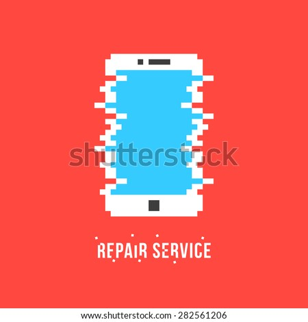 repair service logotype with white pixel phone. concept of tech, solution problem, recycle, recover, test. isolated on red background. flat style trend modern brand design vector illustration - stock vector