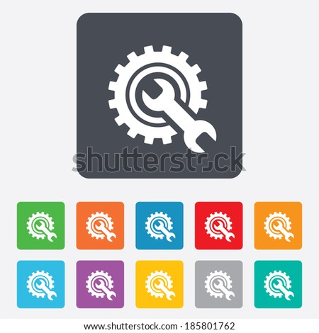 Repair tool sign icon. Service symbol. Hammer with wrench. Rounded squares 11 buttons. Vector - stock vector