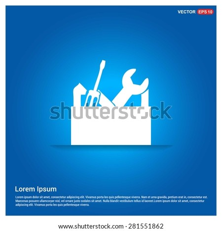 repair Toolbox with Tools icon - abstract logo type icon - abstract glowing blue background. Vector illustration - stock vector