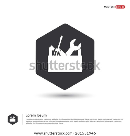 repair Toolbox with Tools icon - abstract logo type icon - hexagon black background. Vector illustration - stock vector