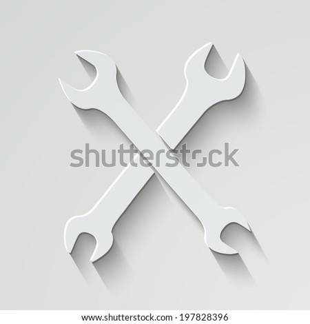 Repair vector icon - paper illustration with shadow on light background