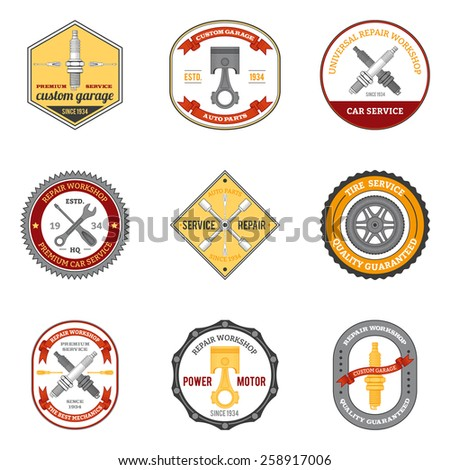Repair workshop car and motorcycle mechanic emblems colored set isolated vector illustration - stock vector